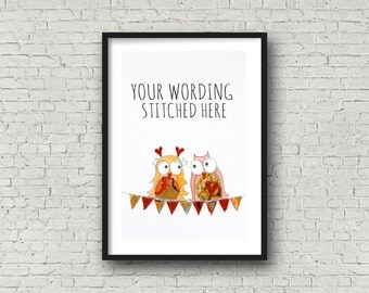 Lovebirds - 2 birds - In Love - Personalise with names - customise - PRINT