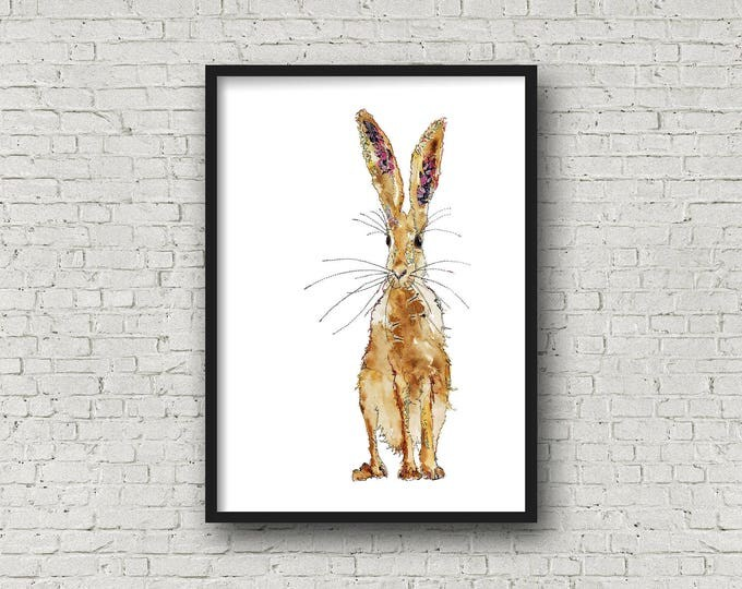 Featured listing image: Standing Hare - Hare - Print