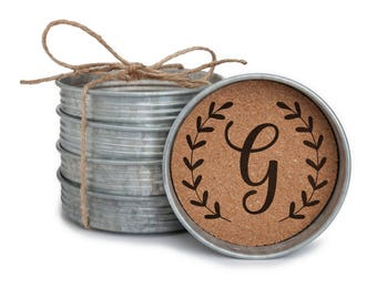 Rustic Coasters, Personalized Coasters, Mason Jar Coasters, Rustic Tin Coasters