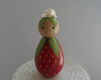 Hand Painted Wooden Peg Doll -  Large Strawberry