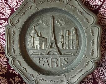 1930's Paris France Metal Souvenir Plate