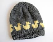Little Ducks Baby Hat, Hand Knitted Gray Beanie, Handmade Hat for 3 to 6 Months Old Baby, Ducks in a Row, Skin Friendly Superwash Merino