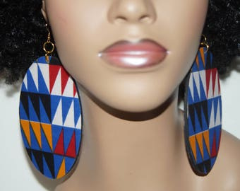 Large Fabric Covered Earrings- Kente Angles