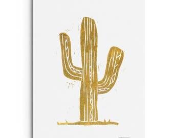 Cactus Illustration - Succulent Print - Home Decor - Wall Art - Linocut Block Print - Original or Digital Print