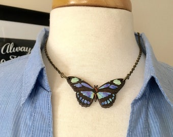 Butterfly Necklace, wooden butterfly pendant, blue statement necklace, nature jewelry