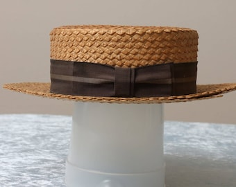 1920's Hopkins Vintage Straw Boaters Hat