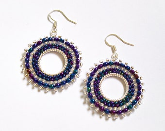 Blue Beadwoven Earrings, Dark Blue Beaded Earrings, Seed Bead Hoop Earrings, UK Seller