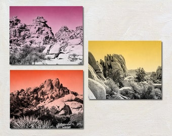 Modern Southwestern Artwork Three Print Set, Pink Orange Yellow Gallery Wall Art, Retro Mountain Picture Set, Bright California Photo
