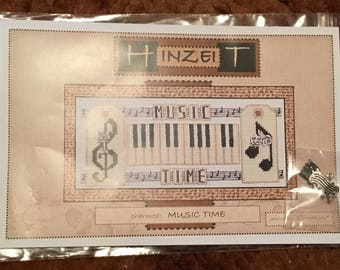 Cross Stitch Chart w/Charms-Music Time by Hinzeit