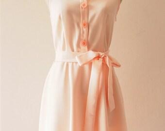 Flash Sale DOWNTOWN - Shirt Dress, Pale Peach Pink Bridesmaid Dress, Light Peach Casual Dress, 1950 Midi Dress, Smart Casual Dress, XS-XL...