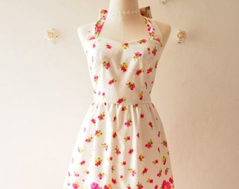 Clearance SALE Cutie Floral Sundress Vintage Inspired Bright Pink Floral Garden Dress Tea Party Dress Halter Retro Modern Dress Gift for ...