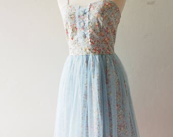 FAIRY ROMANCE - Baby Blue Romantic Party Dress Rustic Wedding Floral Bridesmaid Dress Tutu Skirt Dress Vintage Floral Dress