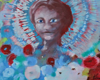 """Abstract Floral, Flowers, Garden Painting, Modern Painting on Canvas, Portrait, """"Her Flowers are the Gift She Gives"""" 12x24"""""""