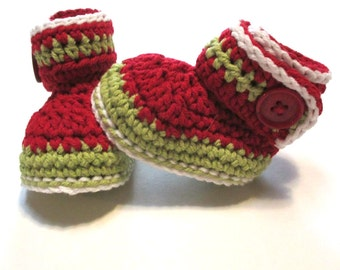 Ready to ship 0-3 months crochet baby booties. Baby Christmas booties.   Cotton baby booties.