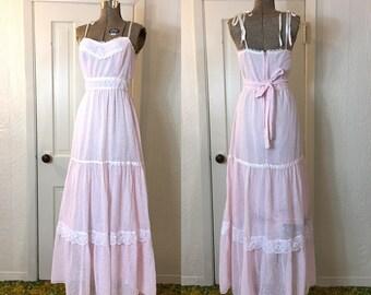 Vintage 70s Pink Floral Prairie Maxi Dress 34 D460