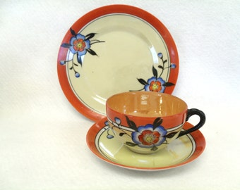 Cup and Saucer Trio Set, Orange, Yellow, Blue and Black, Lusterware, Marked TA (Takito?) Japan