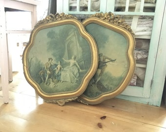 Reserved  Vintage pair ornate frames with french scenery