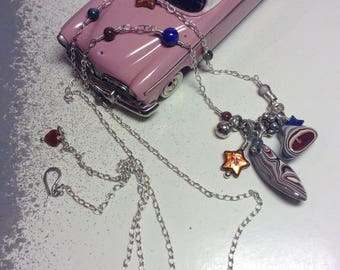 Fordite: Free Form Dangles with Mixed Sterling and Gem Stone Accent beads c.1960 GM Car Paint OOAK