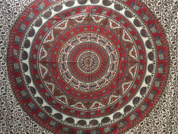 RED ELEPHANT THROW- Mandala Wall Hanging- Bohemian Throw- Bed Sheet- Hippie Blanket- Beach Towel- Duvet Cover - Homeware- Festival