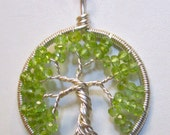 Wire Wrapped Tree of Life with Sterling Silver and Peridot, August Birthstone Tree of Life, Peridot and Sterling Silver Necklace