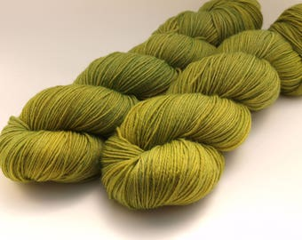 Hand Dyed Fingering/Sock Yarn, 75/25 Super Wash Merino/Nylon, knitting Yarn, Olive