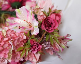 Flower Crown Wreath, Pink Flower Crown, Bridal Crown,  Floral Head Wreath