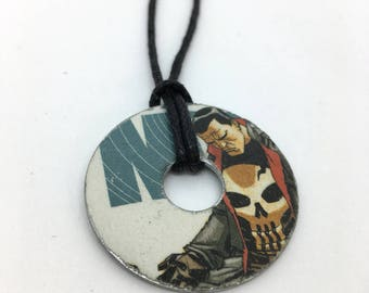 Upcycled Comic Book Washer Necklace Featuring - Punisher