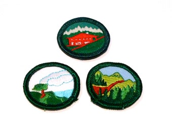 Landscape Round Patches (3) Vintage Mountains Lake Lodge Patch 80s 1990s Outdoors Woodland Forest Red Alpine Cabin Woods Patch Set