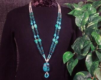 Genuine Turquoise Necklace, Shaman Necklace, Native American Jewelry Style Southwest Necklace, Long Turquoise, Turquoise Pendant