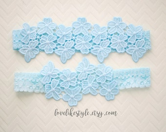Wedding Garter, Light Blue Venice Lace Wedding Garter Set, Light Blue Garter Set,Something Blue Wedding Garter, Blue Garter Belt/ GT-34A