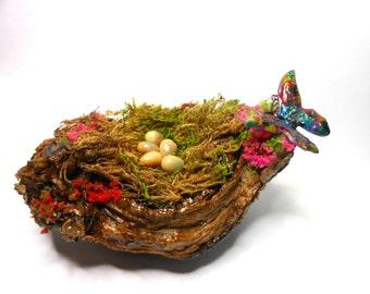 Bird Nest with Butterfly-OOAK- Fairy Garden Bird Nest-Glow in the Dark Eggs-Multi-colored Metal Butterfly