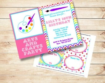 Rainbow Art Party Invitation - Rainbow Birthday - Art Birthday - PRINTABLE Invitation and Thank You Card - Girls Birthday Invitation