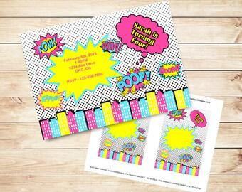 Comicbook Invitation - Girl Superhero Party Invitation - Birthday Party Invitation - Teen Girl Birthday Party - PRINTABLE Digital File
