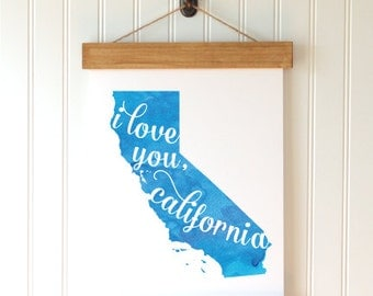 "California State Watercolor Art Print - ""I Love You California"" - Mirabelle Creations"