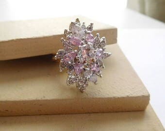 Vintage Huge Clear Pink Rhinestone Cluster Flower Two-Tone Cocktail Ring I6