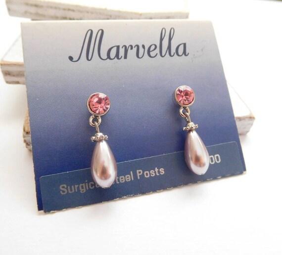 Vintage Marvella Pink Rhinestone Smoke Pearl Dangle Surgical Steel Earrings R31