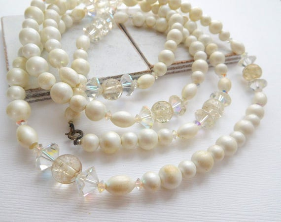 """Vintage Extra Long White Faux Pearl Simulated Crystal Bead 54"""" Rope Necklace N26"""