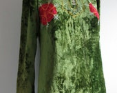 Vintage 60's early 70's Crushed Green Velvet & Embroidery Boho Caftan Dress/Hippie Maxi Festival Dress/xsml and sml/FREE SHIPPING
