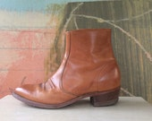 Mens 70s Leather Boots Size 9.5 • Vintage Hanover Boots • Mens Ankle Boots • Tan Leather Cowboy Boots • Biker Boots • Motorcycle Boots