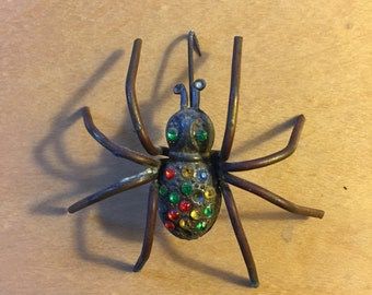antique vintage art deco spider pin encrusted with rhinestones