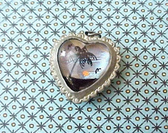 Unusual and Darling Little 1940's Butterfly Wing Puffy Heart Charm or Pendant