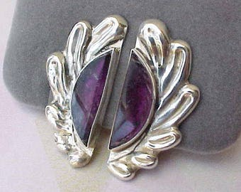 Gorgeous Vintage Mexican Sterling Silver Earrings with Amethysts