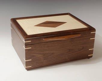 Walnut Jewelry Box with Diamond Inlay