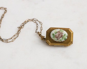 Vintage Locket Necklace, Romantic Revival Brass porcelain Cabbage Rose Flower Sweetheart Jewelry / Feminine Flowers / Rosy Girl Fashion
