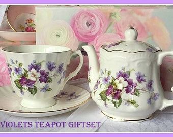 Violets Teapot Teacup Gift Box Set, Violets Teapot, Violets Teacup, Mother's Day Gift, Birthday Gift, Teaparty, Tea, Teaset Gift Box