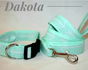 The Dakota, Mint Arrow Collar and Leash Set
