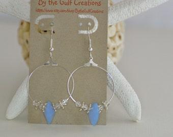 Hoop Earrings, Crystal Hearts, Blue, For Her