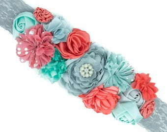 Maternity Sash - Gender Reveal - Maternity Belt - Handmade Maternity Sash - Baby Shower Sash - Baby Shower Gift - Coral and Pale Turquoise