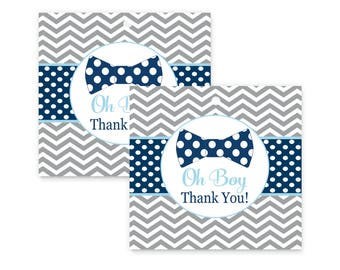Bow Tie Baby Shower Favor Tags -- Little Man Party Supplies -- Gift Labels -- Paper Stationery -- Grey Chevron -- Navy Polka Dots -- 25 Pack