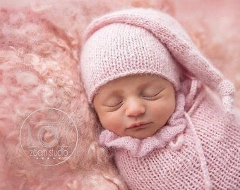 Handkniting sleeping hat, props, baby